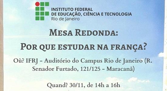 """cartaz azul claro, com o logo do ifrj, escrito em preto """"Mesa Redonda: Por que estudar na França?"""""""