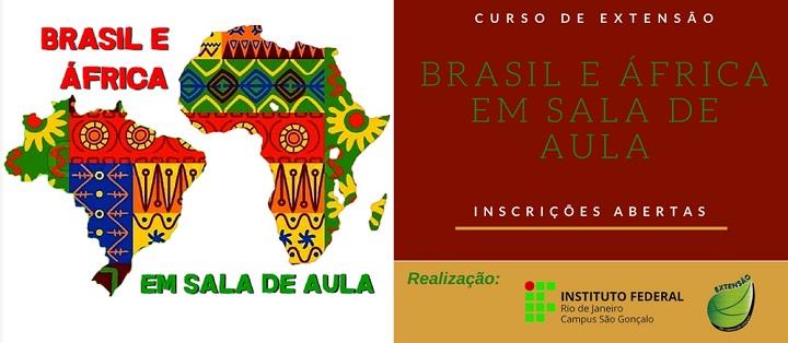 Imagem traz desenho do continente africano e do Brasil com estampa colorida como as africanas e o nome do curso
