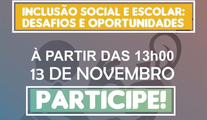 """Fundo roxo com o nome do evento num retângulo amarelo. Abaixo está escrito """"a partir das 13h00 no dia 13 de novembro. Participe!"""""""