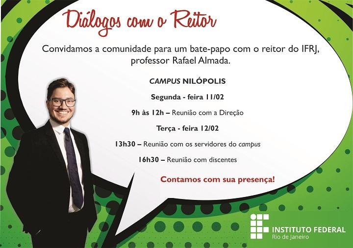 Imagem mostra balão de texto branco, sobre fundo verde, onde se lê: Diálogos com o Reitor. Convidamos a comunidade para um bate-papo com o reitor Rafael Almada. Terça-feira, 12/02, 13h30.