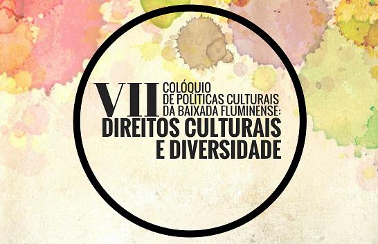cartaz colorido, círculo preto e escrita dentro do círculo em preto