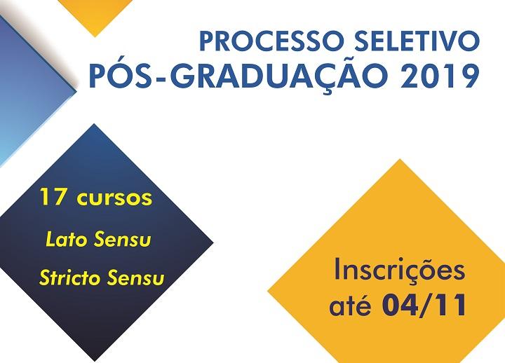"""Fundo branco com losangos coloridos escrito """"processo seletivo Pós-graduação 2019"""" e as datas para solicitar a isenção"""