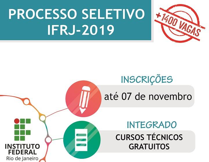 Retângulo verde com o texto Processo Seletivo IFRJ 2019 em branco. Abaixo, está escrito: Inscrições de 17/09 a 07/11