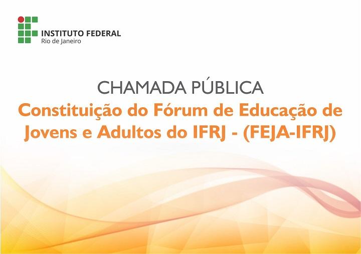 arte em branco e laranja, com a logo do IFRJ e escrita em laranja e preto