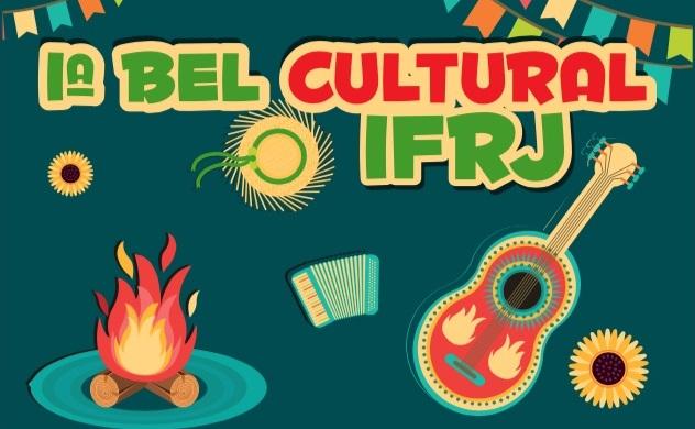 """cartaz em verde, escrita em verde claro e vermelha """"primeira bel cultural"""", arte junina, com fogueira, bandeirinhas e violão"""