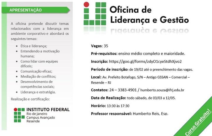 folder para inscrição da segunda turma de Oficina de Liderança e Gestão, verde e branco, escrita em preto