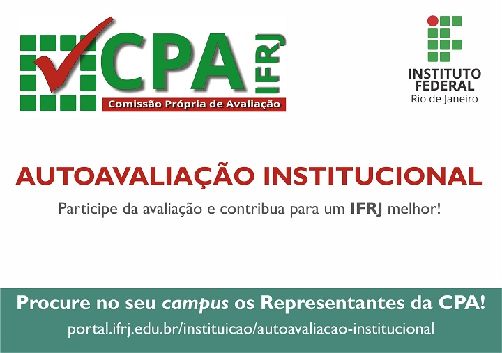 Imagem chamando as pessoas para participarem da autoavaliação e orientando que procurem os representantes da CPA nos campi