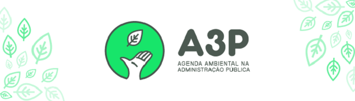 A logo mostra um fundo verde, com uma mão aberta e uma folha caindo na palma. Ao lado, a sigla A3P