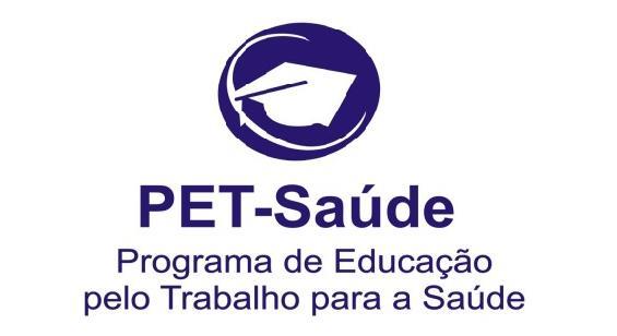 """cartaz em branco, com o logo do PET-Saúde escrito em azul """"Programa de Educação pelo Trabalho para a Saúde (PET-Saúde/Interprofissionalidade)"""""""
