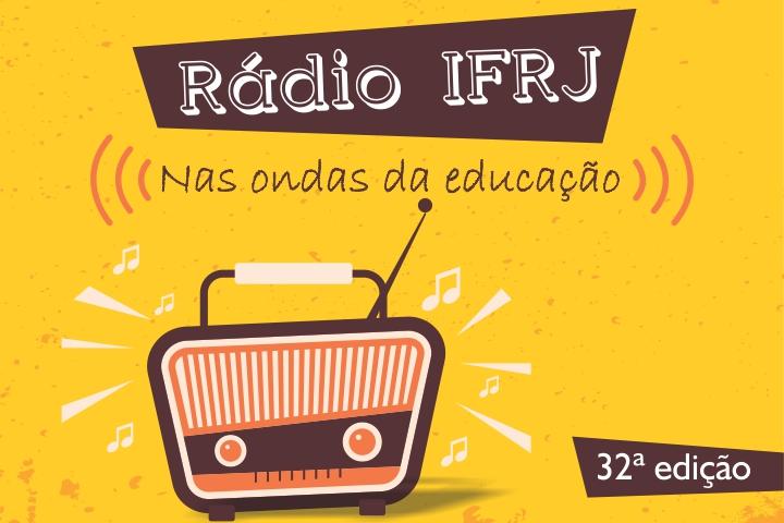 """fundo amarelo, com rádio marrom e a frase """"Rádio IFRJ, nas ondas da educação"""""""