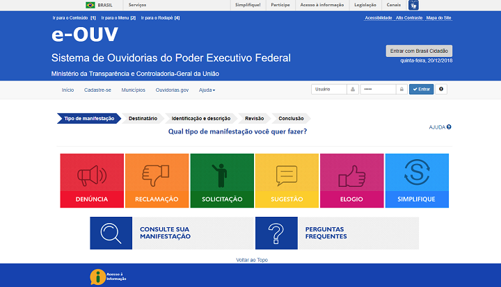 print do site do sistema e-Ouv