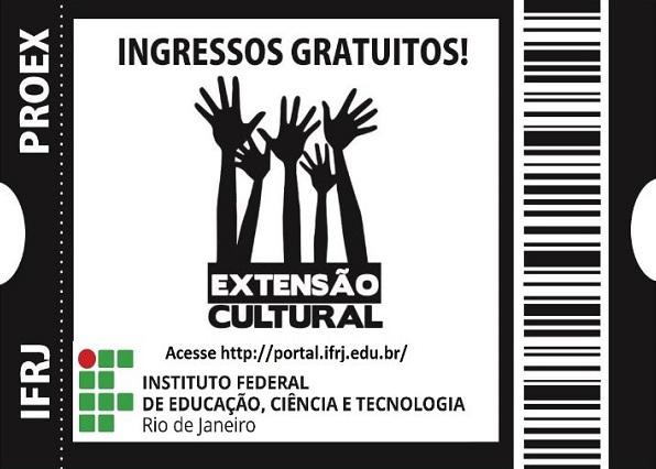 ticket de teatro, escrita em preto, logo do ifrj