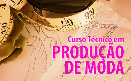 """fundo laranja, escrito em rosa """"curso técnico em produção de moda"""""""