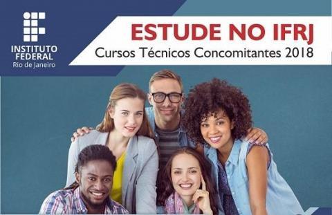 """Grupo formado por 5 pessoas de diferentes etnias e sexos, num fundo azul, com a frase """"estude no IFRJ"""""""
