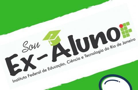 """cartaz verde e branco, escrito """"sou ex-aluno"""" em preto"""