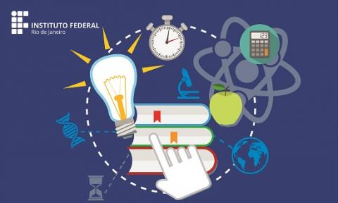 cartaz azul marinho, logo do ifrj em branco. arte: rede ligando livros, timer, ideias, lâmpadas, ciência entre outros