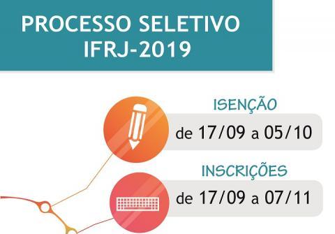 Retângulo verde com o texto Processo Seletivo IFRJ 2019 em branco. Abaixo, está escrito: isenção de 17/09 a 05/10; Inscrições de 17/09 a 07/11