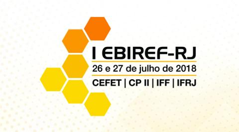 Logo com hexágonos amarelos e o nome do evento e das instituições da Rede Federal do Rio