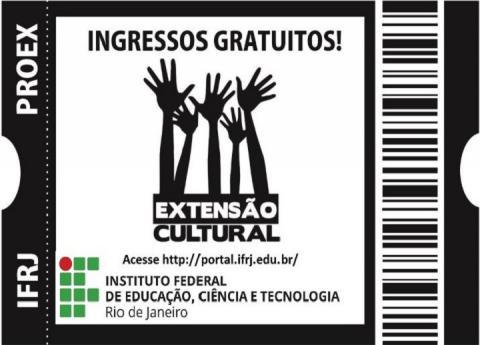 """Simulação de um ingresso, com a frase """"ingressos gratuitos!"""" e com o logo da Extensão Cultural, no qual aparecem 5 mãos erguidas."""