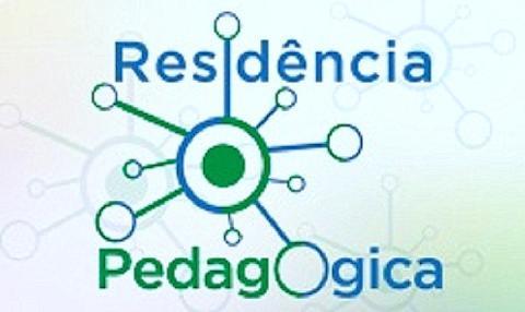 Logo da Residência pedagógica, que consiste em vários circulos azuis interligados a um círculo maior no centro