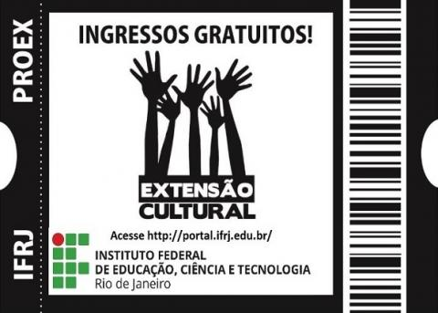 ticket de teatro, escrita em preto, logo do ifrj