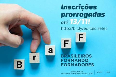 """cartaz azul, quadrados brancos com as letras da BRAFF, formando degraus e dois dedos subindo os degraus, escrito """"inscrições prorrogadas até 13/11"""""""