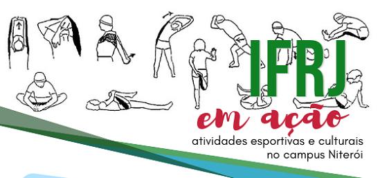 """cartaz em branco, com silhuetas se exercitando, escrita em verde e vermelho """"IFRJ em ação"""""""