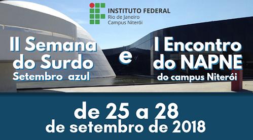 cartaz em azul, campus niteroi de fundo, escrita em branco, logo do ifrj verde e vermelha com escrita em preto